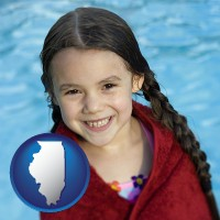 illinois map icon and a little girl wrapped in a dark red towel, in front of a swimming pool