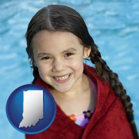 indiana map icon and a little girl wrapped in a dark red towel, in front of a swimming pool