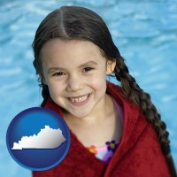 kentucky map icon and a little girl wrapped in a dark red towel, in front of a swimming pool