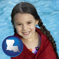 louisiana map icon and a little girl wrapped in a dark red towel, in front of a swimming pool