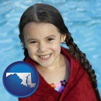 maryland map icon and a little girl wrapped in a dark red towel, in front of a swimming pool