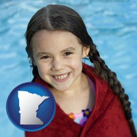 minnesota map icon and a little girl wrapped in a dark red towel, in front of a swimming pool