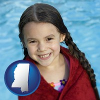 mississippi map icon and a little girl wrapped in a dark red towel, in front of a swimming pool