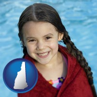 new-hampshire map icon and a little girl wrapped in a dark red towel, in front of a swimming pool
