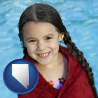 nevada map icon and a little girl wrapped in a dark red towel, in front of a swimming pool