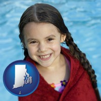 rhode-island map icon and a little girl wrapped in a dark red towel, in front of a swimming pool