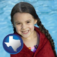 texas map icon and a little girl wrapped in a dark red towel, in front of a swimming pool