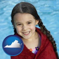 virginia map icon and a little girl wrapped in a dark red towel, in front of a swimming pool