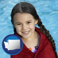 washington map icon and a little girl wrapped in a dark red towel, in front of a swimming pool