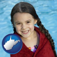 west-virginia map icon and a little girl wrapped in a dark red towel, in front of a swimming pool